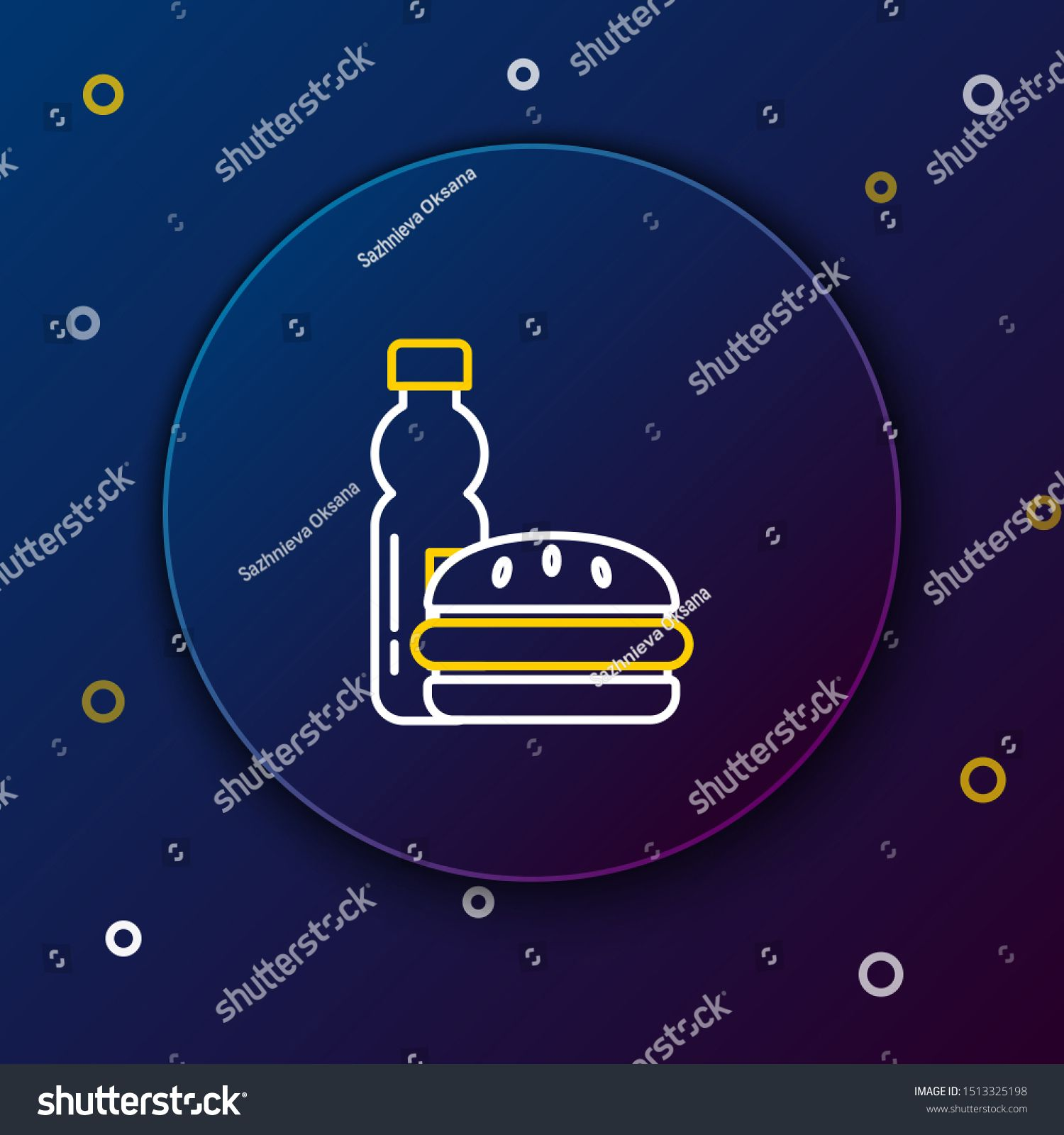 White and yellow line Bottle of water and burger icon on