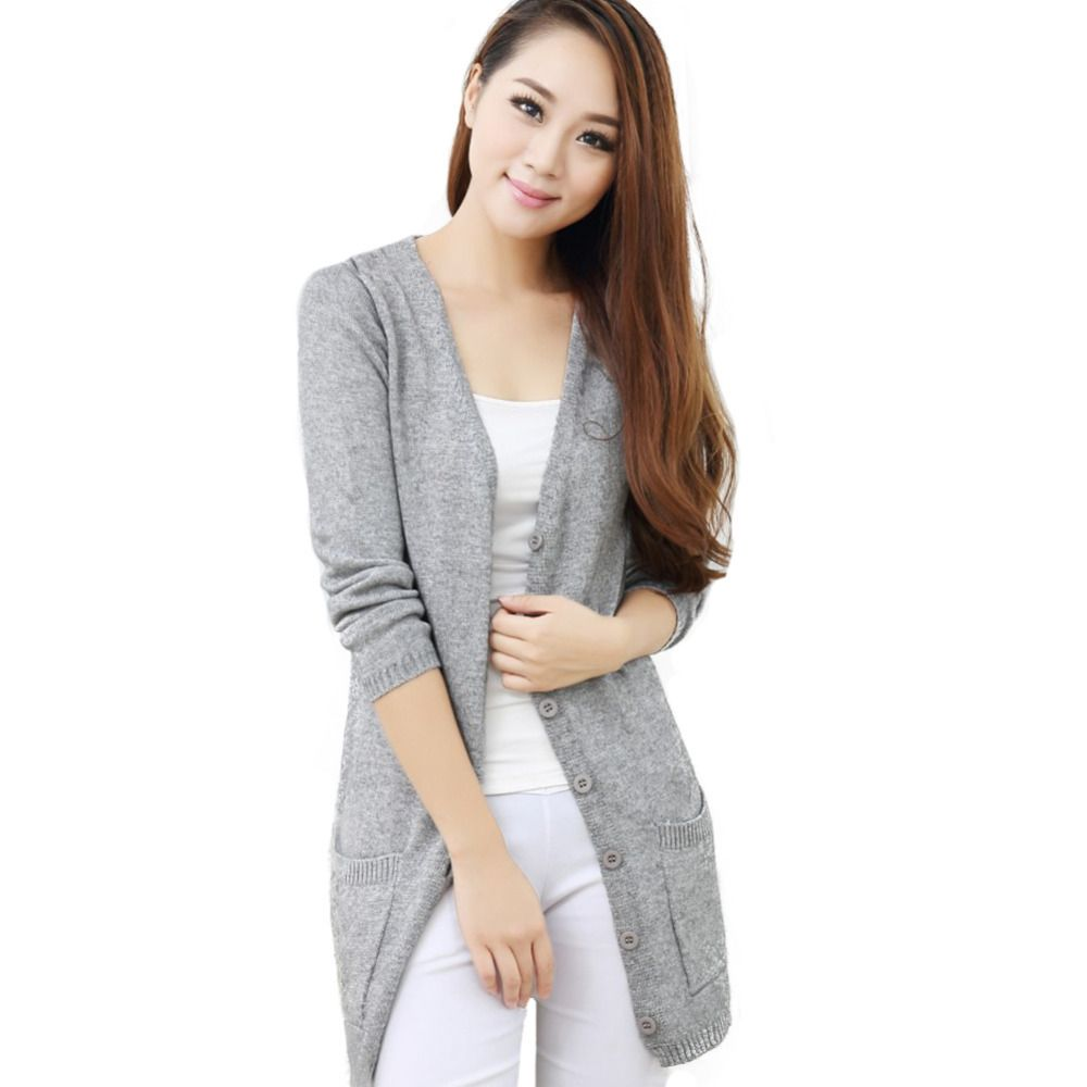 2015 Women's Long Cashmere Wool Cardigan Long Sleeve V-neck Autumn ...