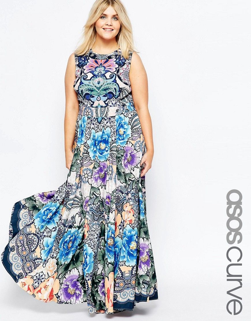 Image 1 of ASOS CURVE Maxi Dress in Floral Paisley Print ...