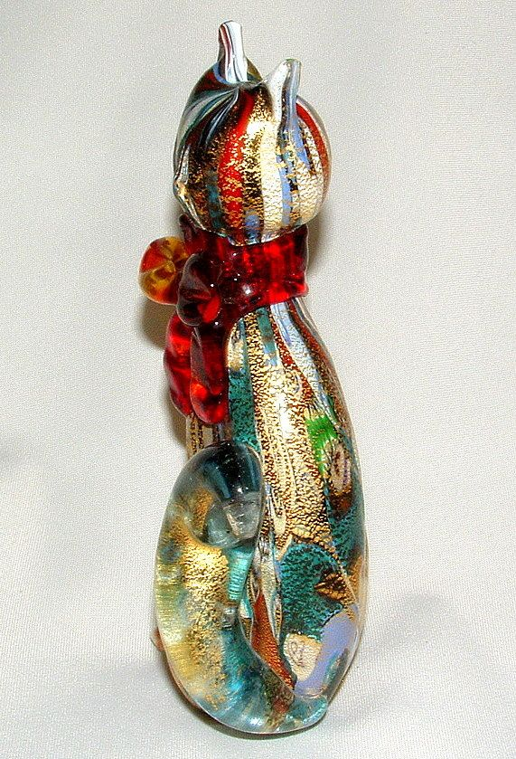 Murano Art Glass Cat Figurine Artist Signed by vintageandmorestore