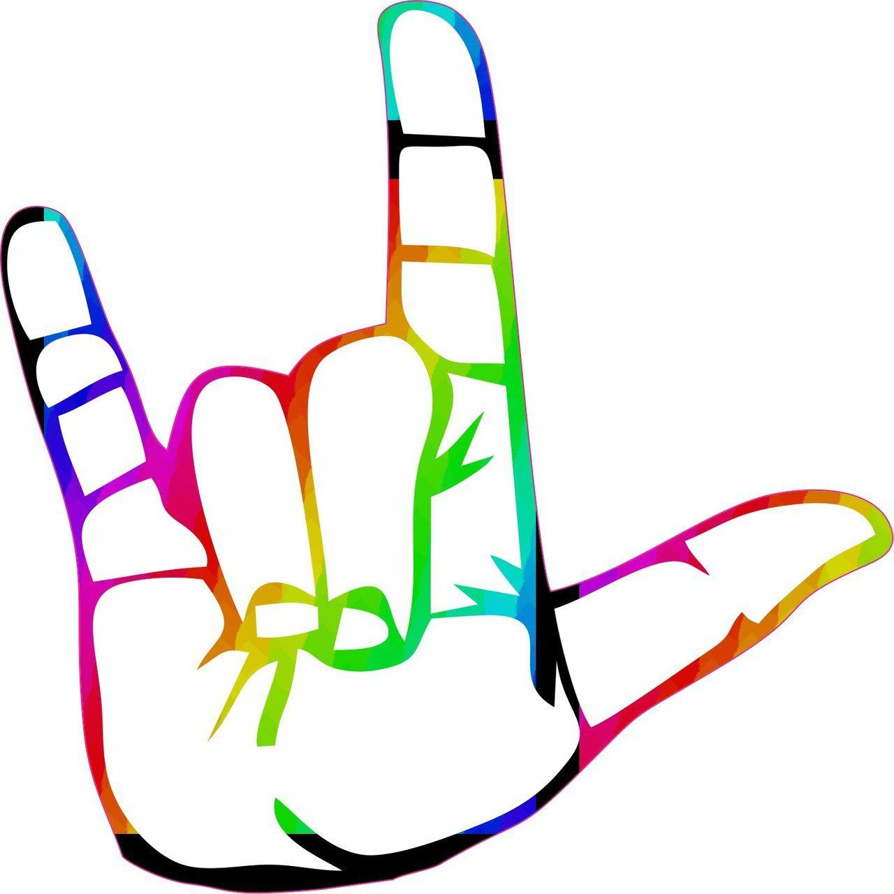 Download 5in x 5in ASL Rainbow Sign Language I Love You Sticker ...