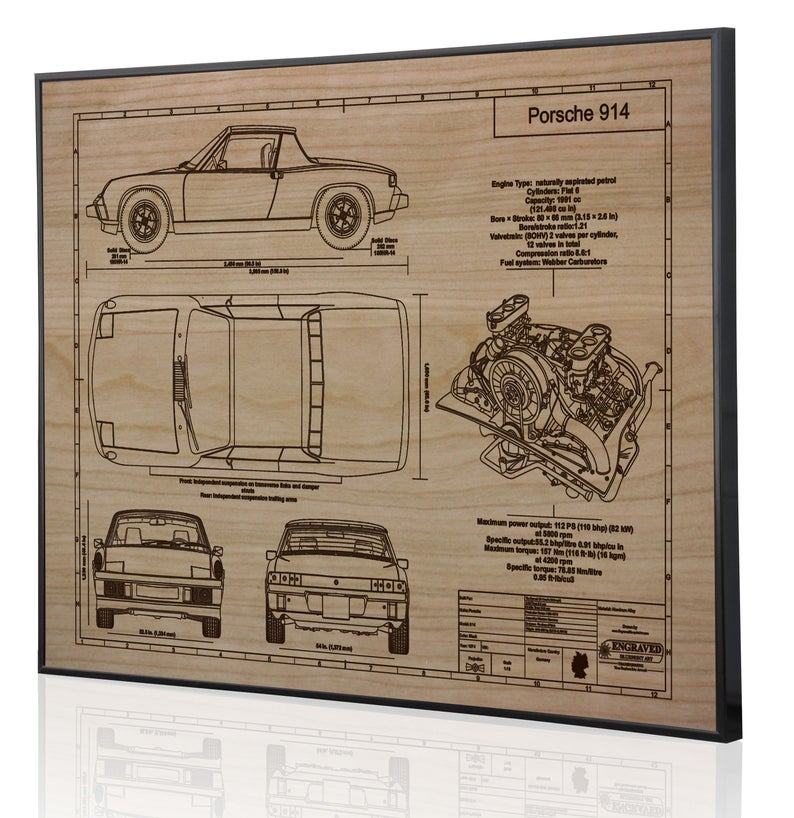 Porsche 914 1974 Car Wall Art Porsche Car Blueprint Art Etsy In 2020 Car Wall Art Porsche 914 Porsche