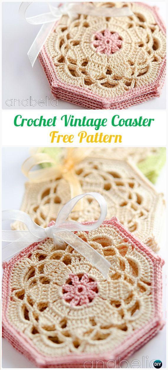 Crochet Vintage Octagon Coasters Free Pattern - Crochet Coasters ...