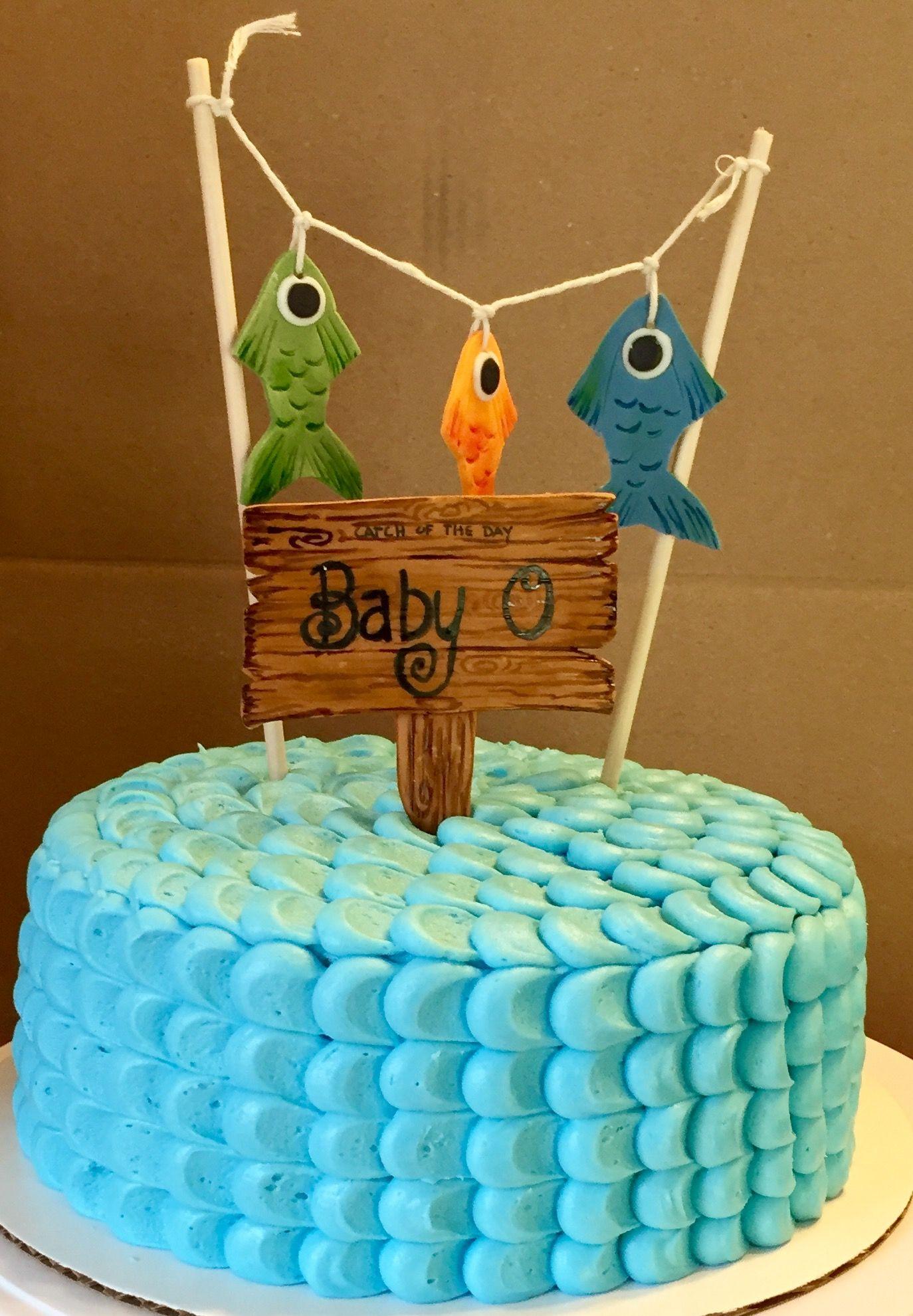 Fishing Themed Baby Shower Cake #cakedecorating #fishingcake #babyshower
