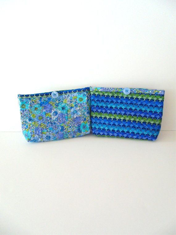 9b79b657f3 Handmade Quilted Blue Floral Design Pattern Cosmetic Bag Set ...