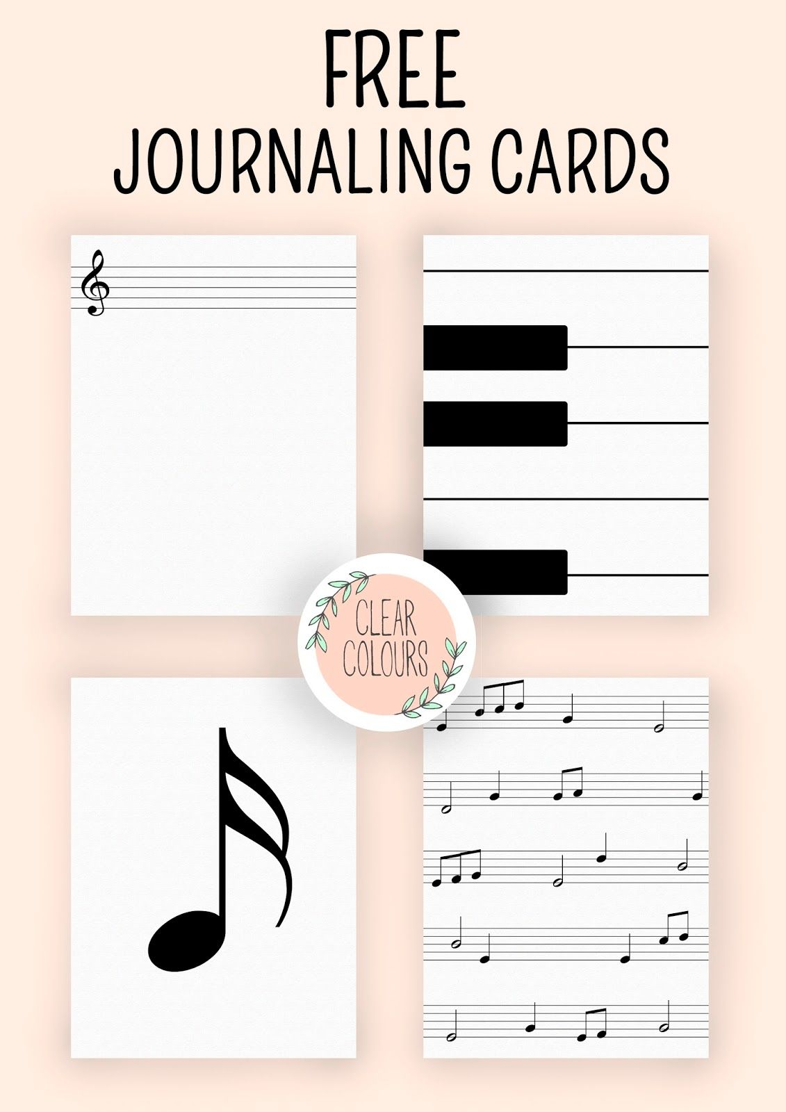 Free Music Journaling Cards from Clear Colours | tarjetas ...