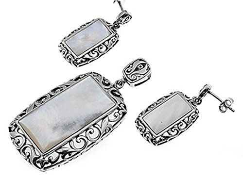 18 Pendant Necklace Simulated Mother of Pearl Black Simulated CZ .925 Sterling Silver