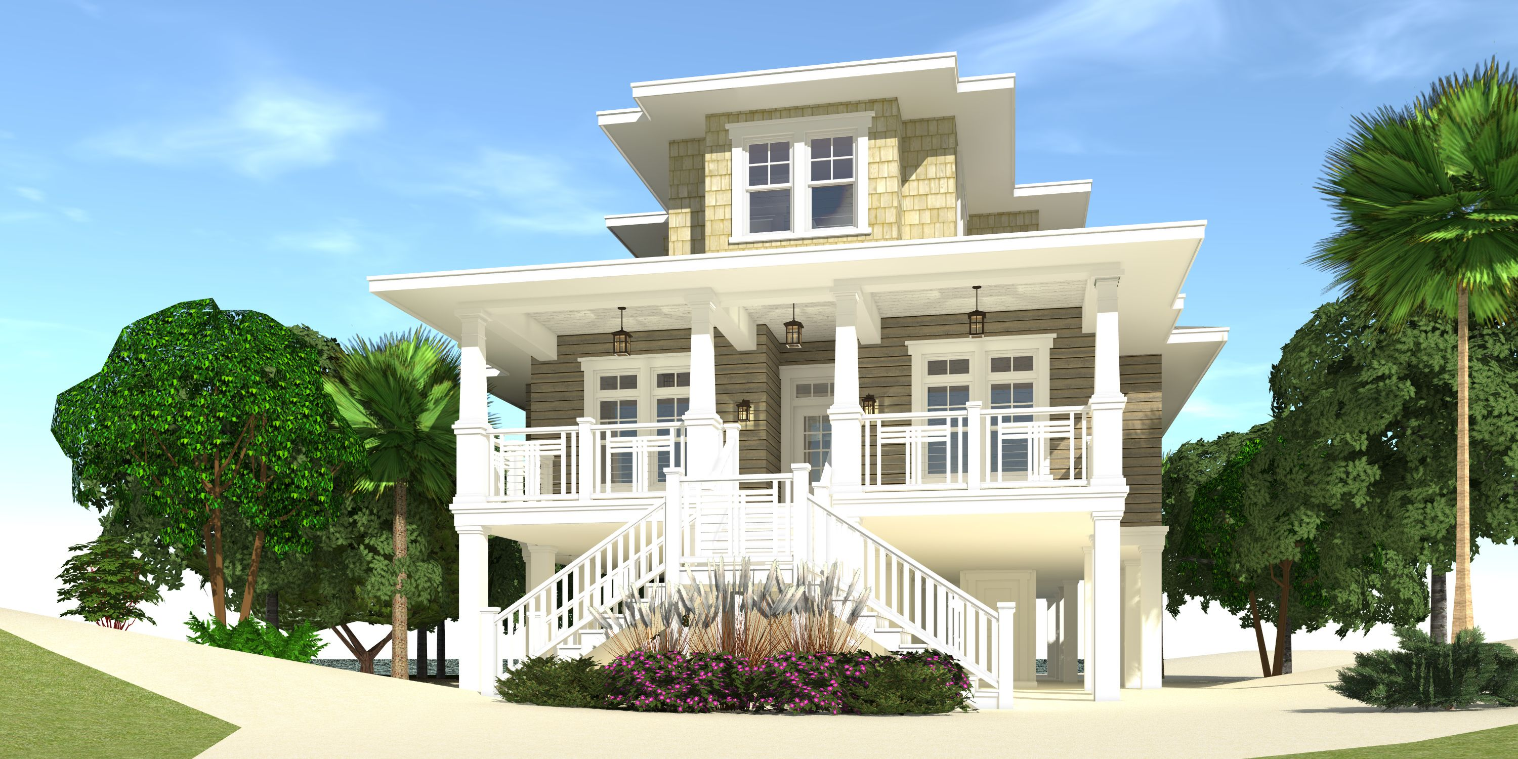 4 Bedroom Beach House Plan with Porches Tyree House Plans