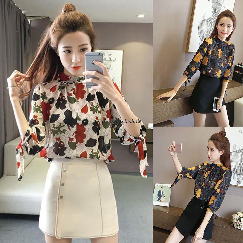 c208d2af9f4f53 Fashion Korean Women Casual Chiffon Floral 3/4 Sleeve Loose Slim Blouse Tops  Xl