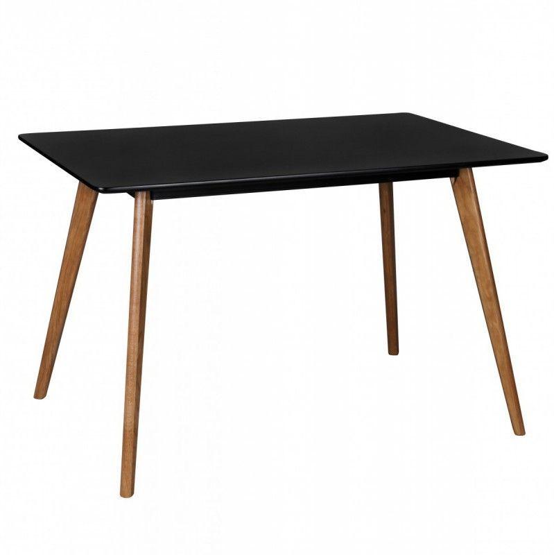 Wohnling Retro Esstisch SCANIO 120 x 80 x 75 cm MDF Schwarz Matt - ikea küche tisch