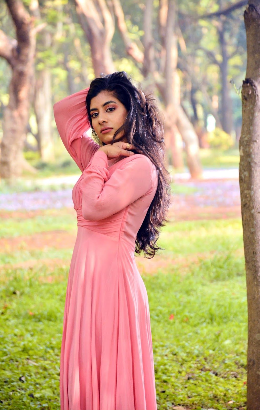 Pink Draped Elegant Gown