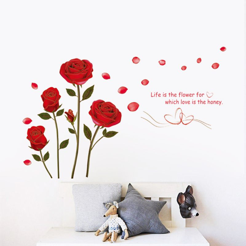 New Red Rose Life Is The Flower Quote Wall Sticker Mural Decal Home