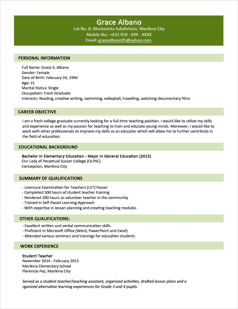 Sample Resume Format For Fresh Graduates Two Page Intended