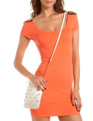 spiked shoulder body-con dress
