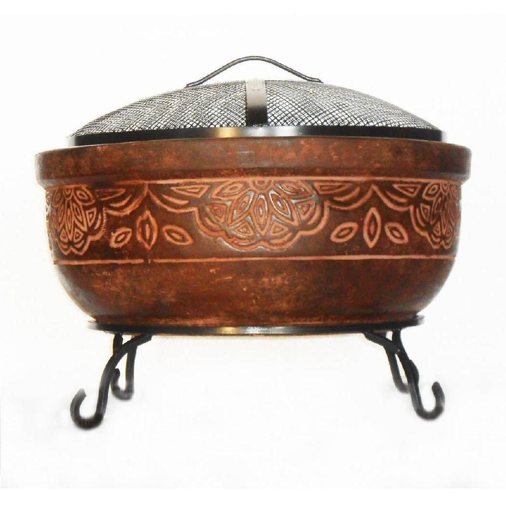Null 20 In Clay Fire Pit With Iron Stand Scroll Fire Pit Bowl Clay Fire Pit Fire Pit