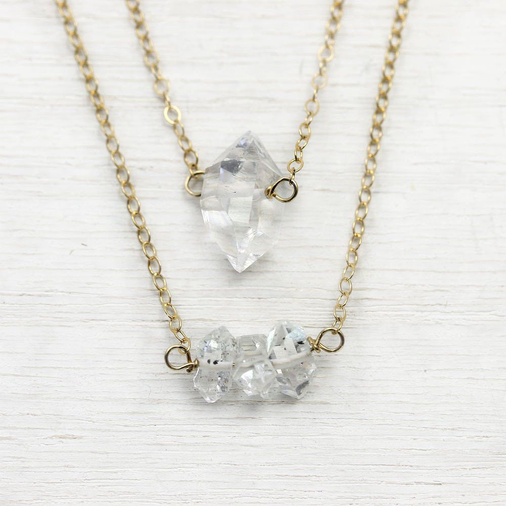 Long Necklace Layering Necklace Diamond Necklace Herkimer Diamond Necklace Crystal Necklace Black and White Necklace