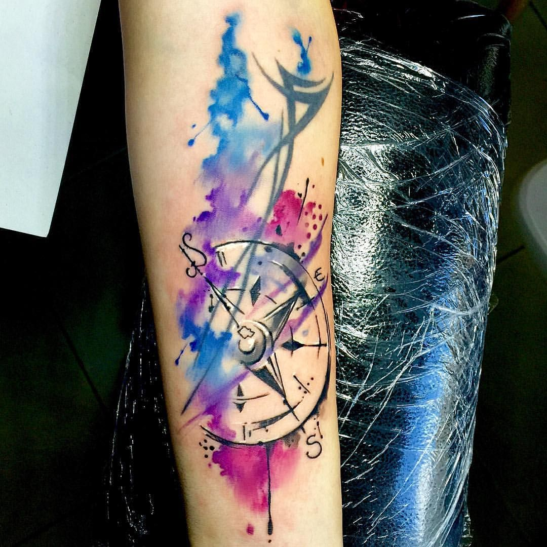 Just a simple watercolour compass tattoo that needed to for How to blend tattoos into a sleeve