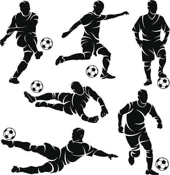 Silhouettes Of Soccer Football Players Vector Art Illustration Soccer Drawing Football Artwork Soccer Silhouette