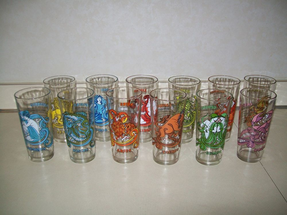 Vintage 1976 Arby S Astrology Horoscope Zodiac Glasses Tumbler Complete Set 12 Omg These Are So Fun Vintage Astrology Zodiac
