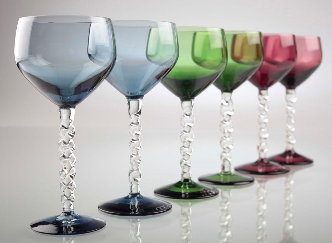 Weingläser Rot 6 vintage weingläser bunt farbglas blau grün burgund rot gläser