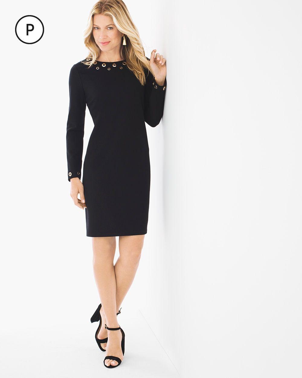 Chico's Women's Petite Grommet-Detail Short Dress, Black, Size: 3P (16P/18P XL)