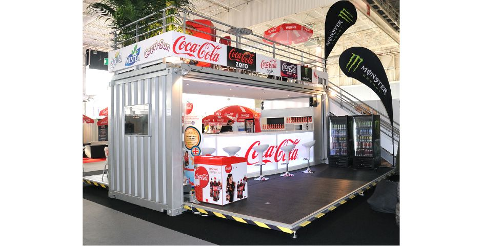 Container conteneur stand coca cola bar european food 1 for Fabricant conteneur maritime