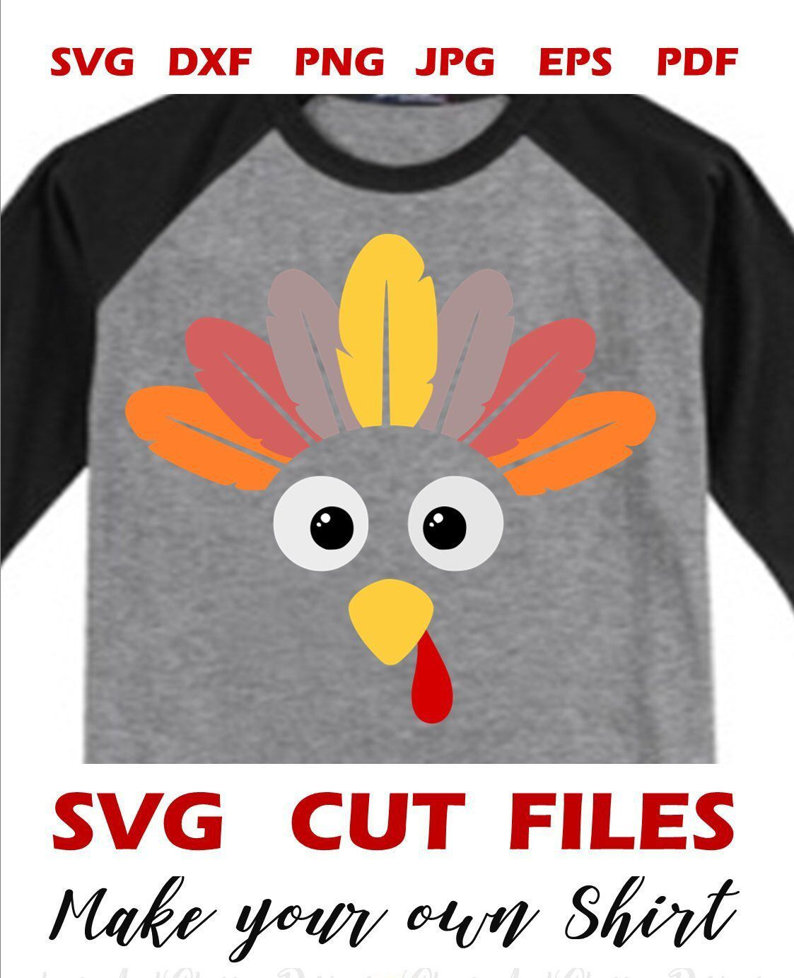 Funny turkey face SVG file for Cricut Silhouette Iron On