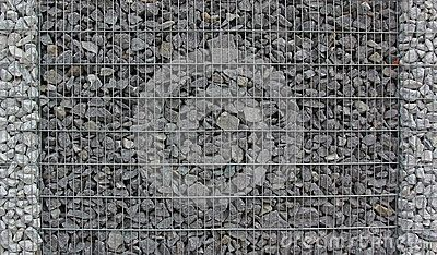 Gabion Fence Filled With Granite Stones Stock Photo - Image: 47132068