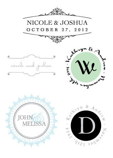 wedding logo - personalized monogram - initials for stationery