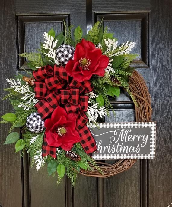 Photo of Christmas Wreath, Christmas Wreaths for Front Door, Christmas Wreath, Winter Wreath, Christmas Wreath, Merry Christmas Wreath, Buffalo Check Wreath