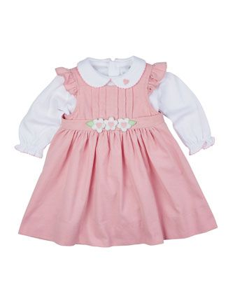 Pleated Corduroy Jumper & Knit Long-Sleeve Blouse, Pink/White, Size 6-24 Months by Florence Eiseman at Neiman Marcus.