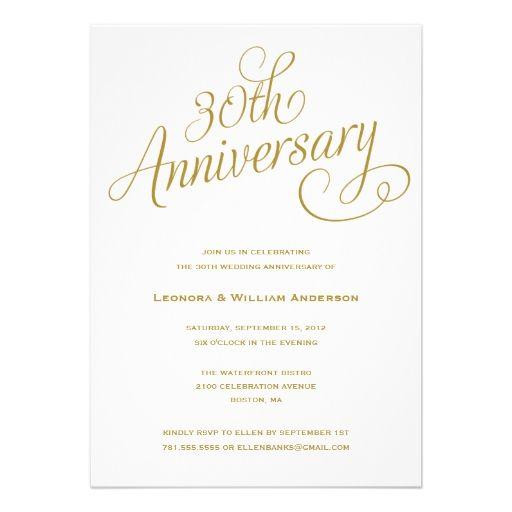 30th Wedding Anniversary Invitations Parties 50th Invitation Wording