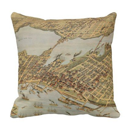 Vintage Pictorial Map of Vancouver BC (1898) Throw Pillow - decor ...