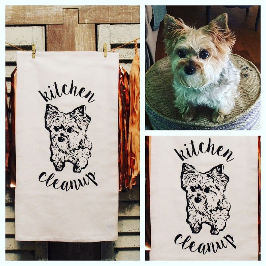 Tea Towel Your Pets Picture Gifts Dog Lover Housewarming Linens Kitchen  Decor Custom Christmas Holiday Present Idea Design Personalized Art By On  Etsy