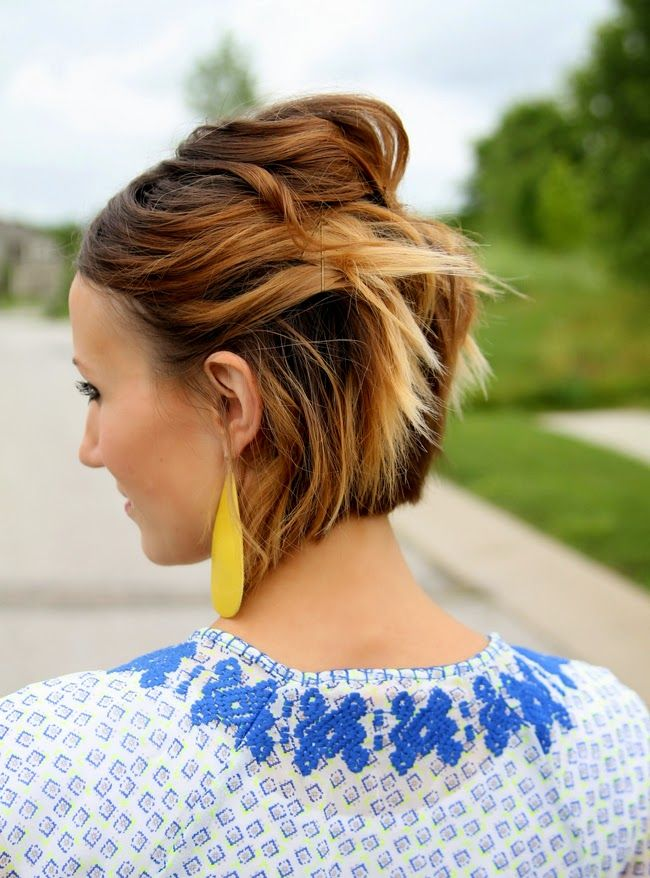 Easy Short Hair Tutorial Pinned Back Waves For A Bob Short Ombre Hair Short Hair Styles Thick Hair Styles