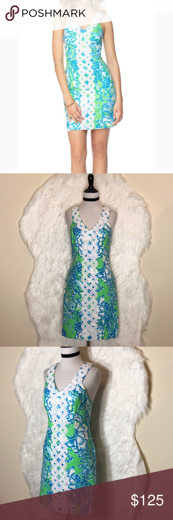 Lilly Pulitzer Trudy Shift Dress | Lace trim, Neckline and Blue green