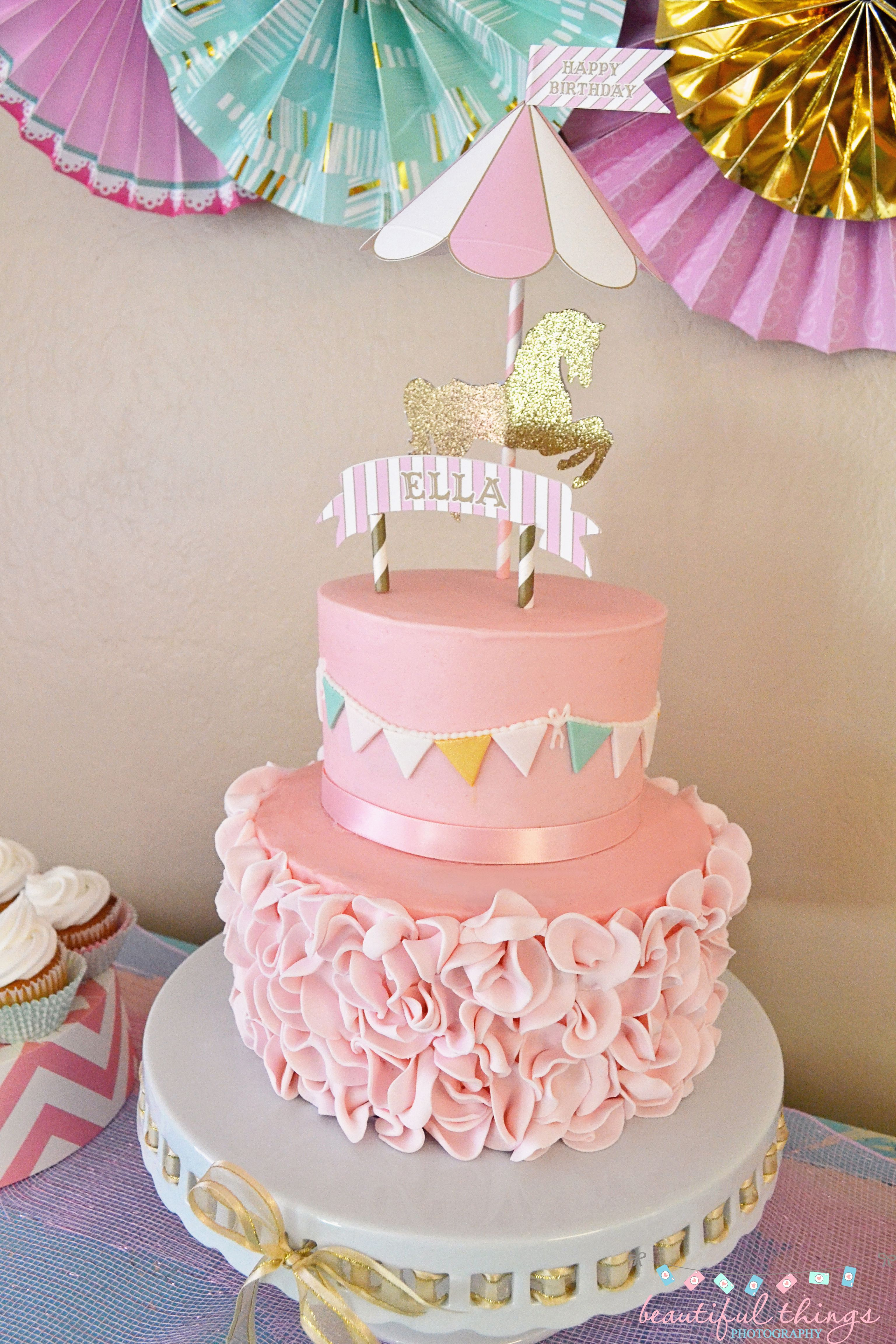 Carousel Birthday Cake /Topper by ooohlalapaperie on Etsy