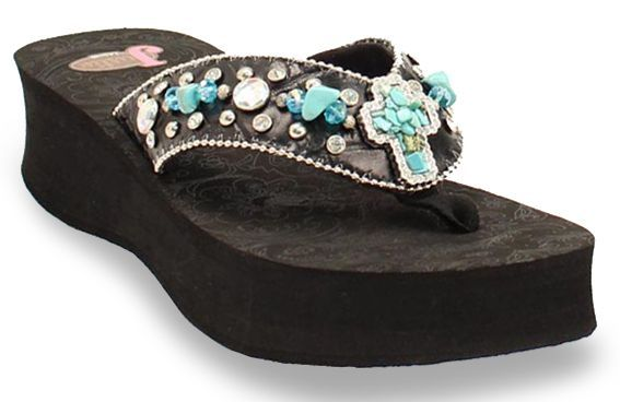47d4364d4894 Justin Carly Turquoise Cross Flip Flops
