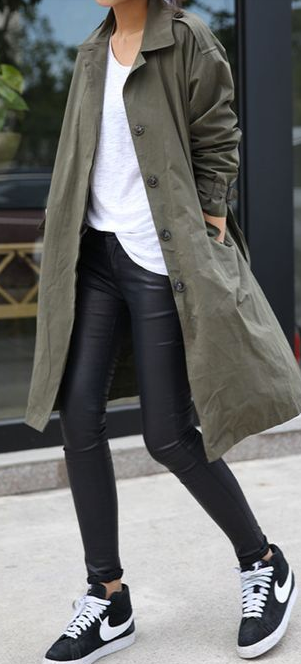 Khaki coat, leather skinnies + Nikes.