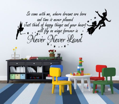 Peter pan never land quote wall decal vinyl decals wall sticker home decor removable stickers diy