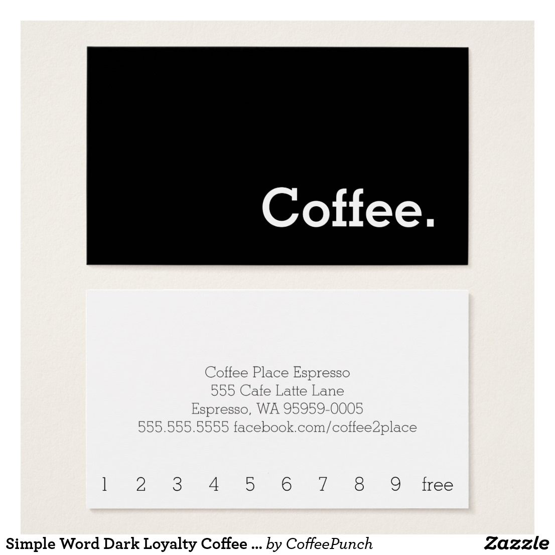 Simple Word Dark Loyalty Coffee Punch-Card | Coffee punch, Simple ...