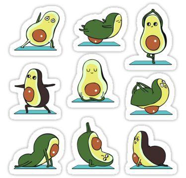 Avocado Yoga Sticker By Huebucket Stikery Dlya Noutbukov