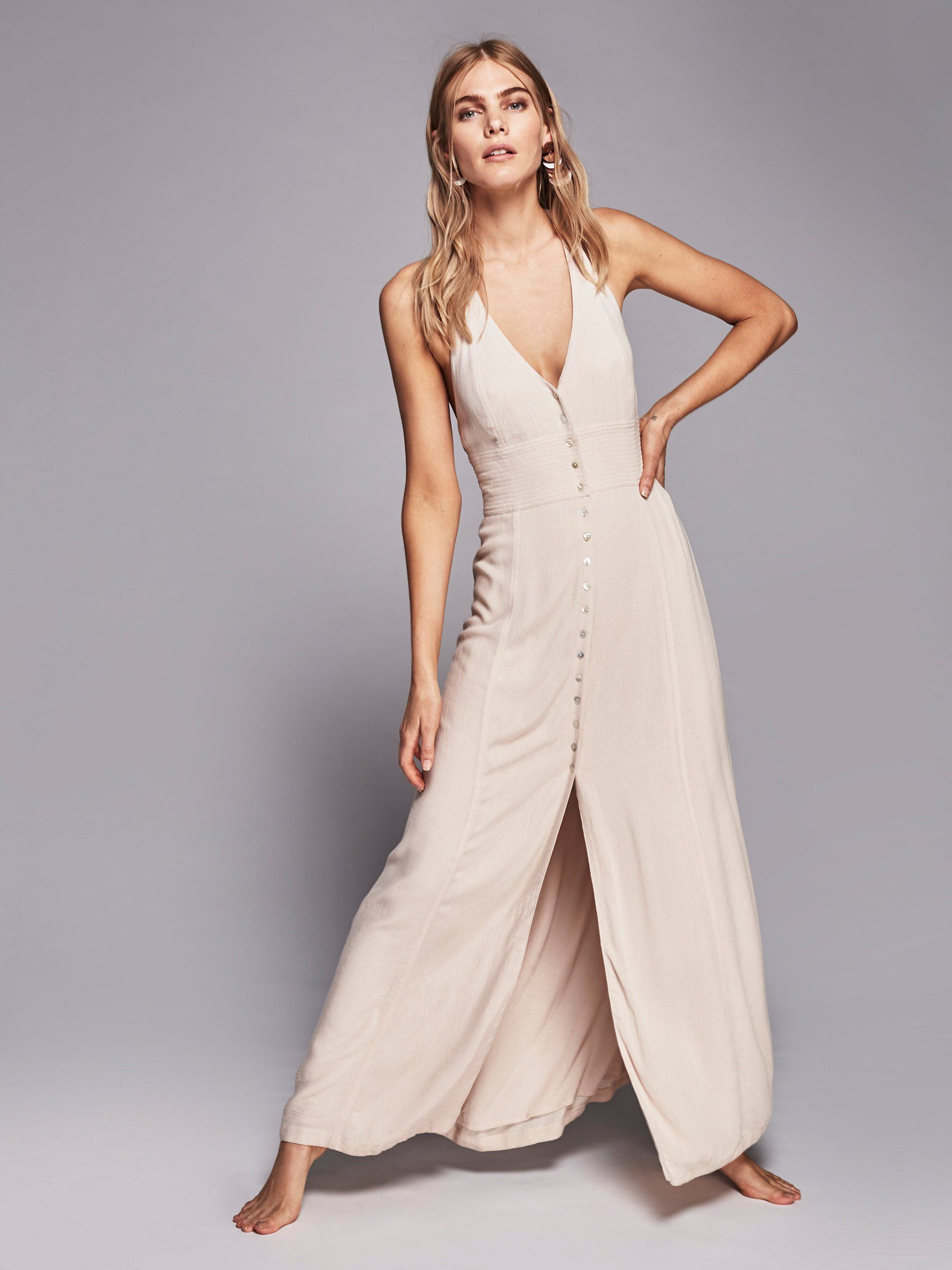 Vneck backless sexy button closures in front with slit long dress