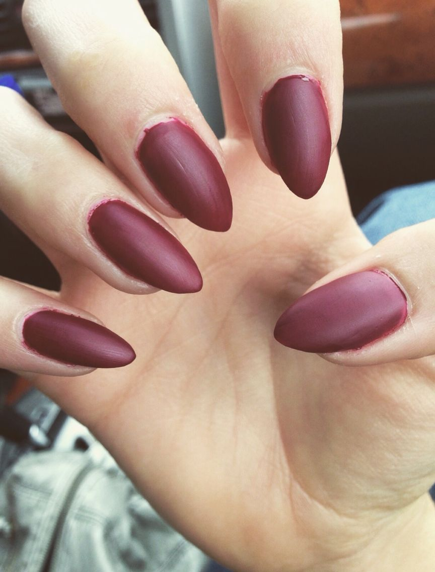 Matte maroon nails Color: OPI Just a Little Rösti at This | Nails ...
