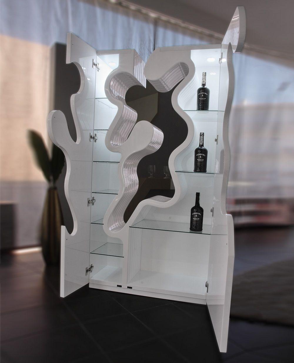 Ju0026M Furniture 18097 Empty Premium Bar In White High Gloss