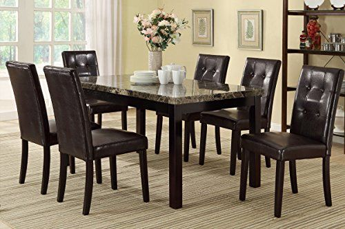 Poundex F2093 & F1078 Faux Marble Top W Brown Leatherette Chairs