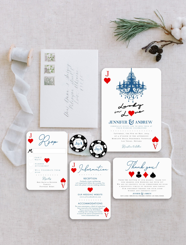 Fun Las Vegas Themed Wedding Invitation Suite Lucky In Etsy In 2021 Vegas Themed Wedding Las Vegas Wedding Invitations Vegas Themed Wedding Invitations
