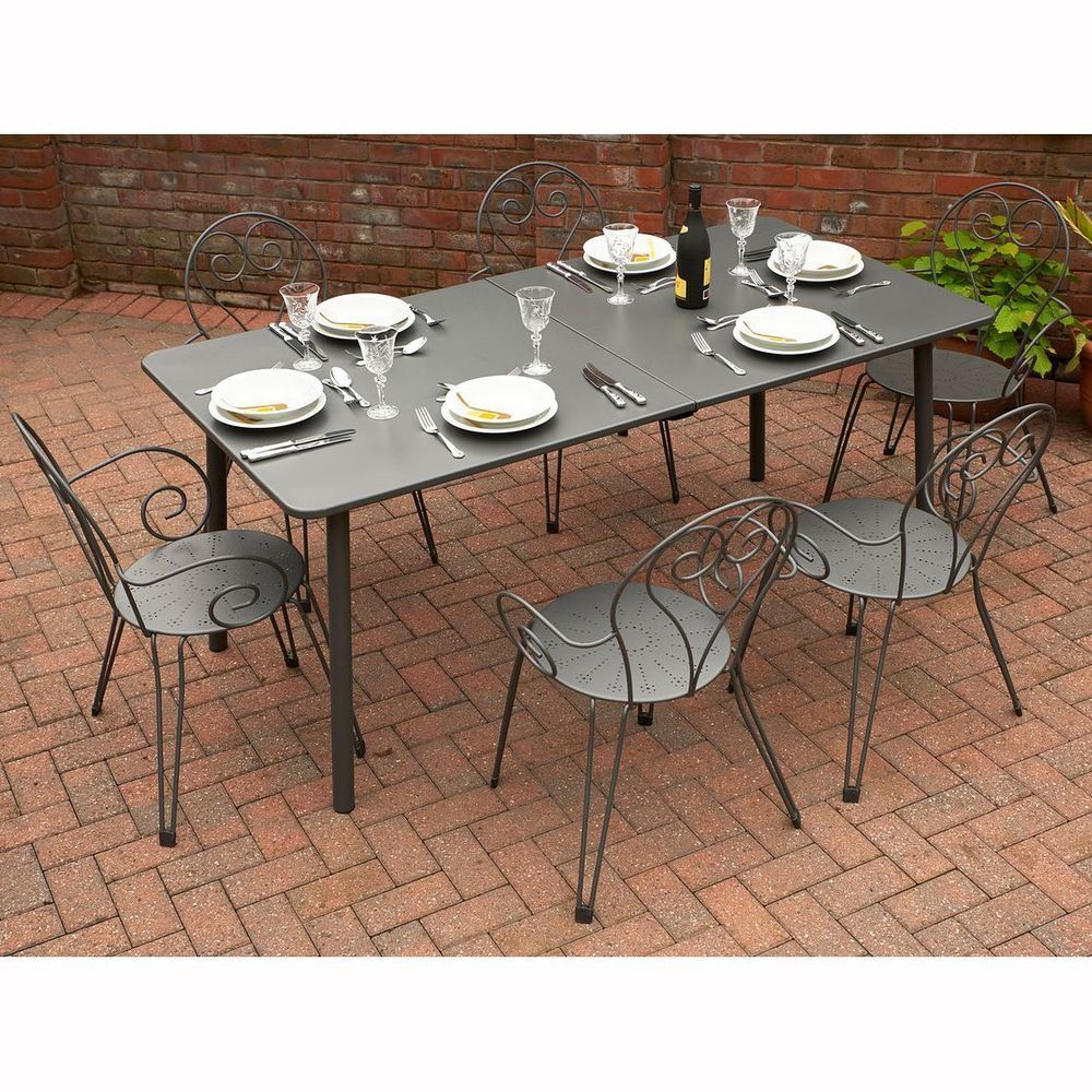 6 Seater Outdoor Dining Set Grey Metal Steel Extending Table