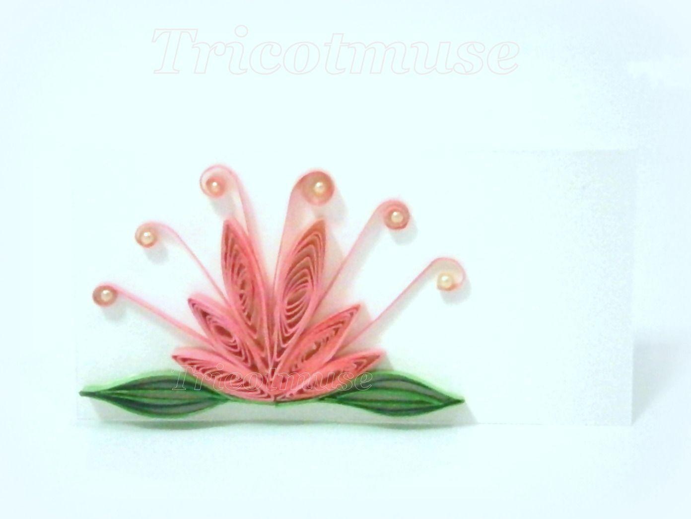 Marque-place, lot de 4,Fleur de lotus, avec prénom imprimé ou vierge : Cuisine et service de table par tricotmuse