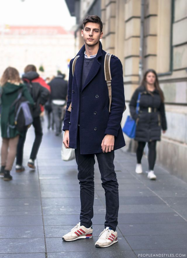 Pea coat and backpack, casual men's winter fashion by ...